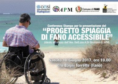 Locandina Progetto Spiaggia di fano Accessibile